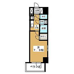 エスリード名城公園プライム 9階1Kの間取り