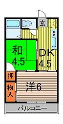 ベルゾーネ喜沢[1階]の間取り
