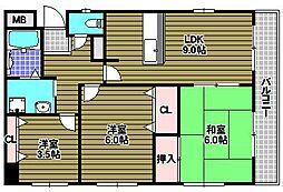 ルヴニール北野田[2階]の間取り