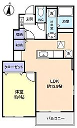 千葉県千葉市花見川区作新台7丁目の賃貸アパートの間取り