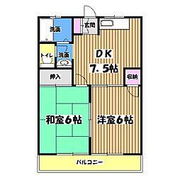 東京都あきる野市秋川4丁目の賃貸マンションの間取り