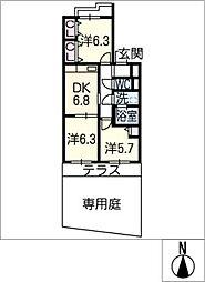 サンマンション東山元町A棟103[1階]の間取り