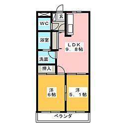 パレスコートマスダII[3階]の間取り