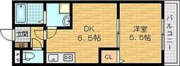 PRADO 2階1DKの間取り