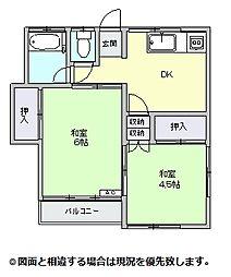 入母屋荘[松号室号室]の間取り
