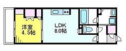 パレステージ武蔵小金井II 3階1LDKの間取り