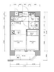 福岡市地下鉄七隈線 渡辺通駅 徒歩7分の賃貸マンション 4階1LDKの間取り
