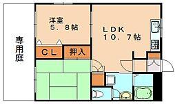 福岡県飯塚市花瀬の賃貸アパートの間取り