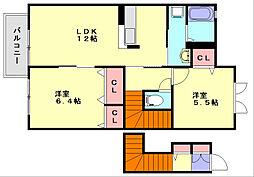 ファミール那珂川[2階]の間取り
