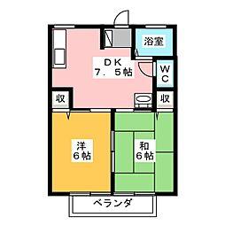 サングリーンハイツ A棟[2階]の間取り
