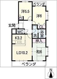 シャンブルクレール[4階]の間取り