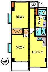 第7カネ長マンション[4階]の間取り