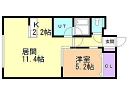 十三和マンション 5階1LDKの間取り