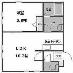 北海道札幌市西区西町北12丁目の賃貸アパートの間取り