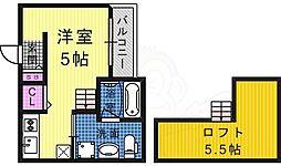 Luna堺東(ルナサカイヒガシ) 1階ワンルームの間取り