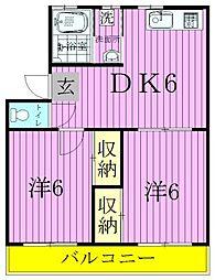 千葉県松戸市三矢小台4丁目の賃貸マンションの間取り