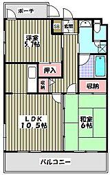 モズミヤビマンション[2階]の間取り