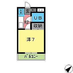 1ルーム東山 A[202号室]の間取り
