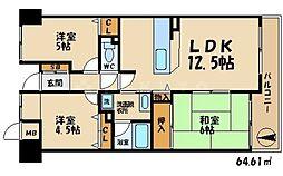 千里五月ヶ丘ハイツ5番館[2階]の間取り