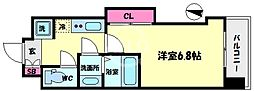Luxe難波西III(ラグゼ難波西III) 4階1Kの間取り