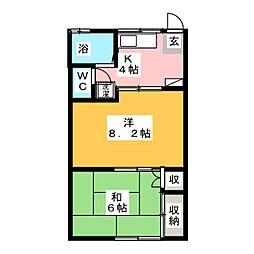 コーポ秋元A[1階]の間取り