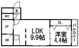 villa手稲駅前[305号室]の間取り