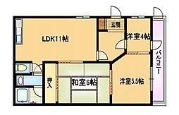 福井第二マンション[1階]の間取り