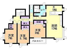 末広東2条8丁目ー戸建(2階部分) 2階3LDKの間取り