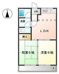 加賀野コーポ[2階]の間取り