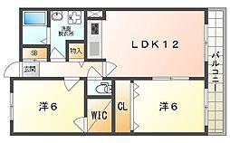 ルカーノ錦 3階2LDKの間取り