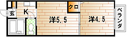 福岡県北九州市小倉北区赤坂3丁目の賃貸アパートの間取り