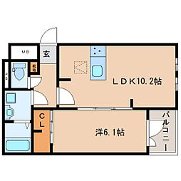 JR関西本線 木津駅 徒歩17分の賃貸アパート 2階1LDKの間取り