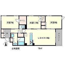 プレージア京都聖護院ノ邸[3階]の間取り