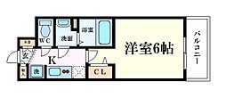 Osaka Metro谷町線 天満橋駅 徒歩5分の賃貸マンション 13階1Kの間取り