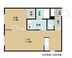 JR函館本線 江別駅 徒歩6分の賃貸マンション 2階1LDKの間取り
