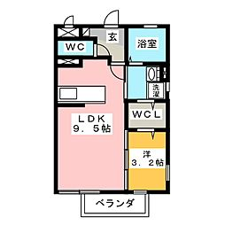 Re.OOZO B[1階]の間取り