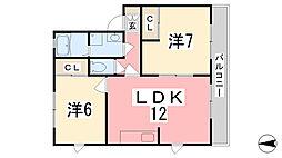 ルシエール亀山[101号室]の間取り