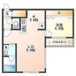 札幌市電2系統 西線16条駅 徒歩4分の賃貸マンション 3階1LDKの間取り