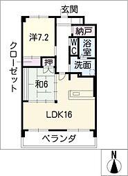 リバーズマンション築捨III[2階]の間取り