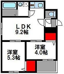 JR鹿児島本線 箱崎駅 徒歩14分の賃貸アパート 2階2LDKの間取り