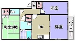 エクロール東助松A棟・B棟[A201号室]の間取り