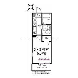 相鉄新横浜線 西谷駅 徒歩12分の賃貸アパート 1階1Kの間取り