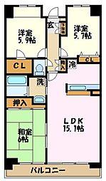シエスタ大倉山[205号室]の間取り