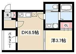 フラワーコーポ 2階1DKの間取り