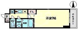 スプランディッド難波WEST 14階1Kの間取り