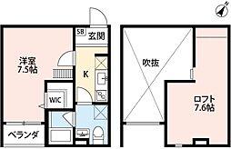 兵庫県神戸市長田区御蔵通2丁目の賃貸アパートの間取り