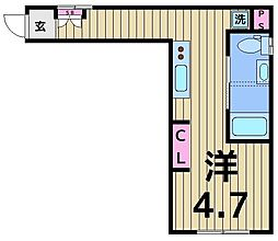 COCO SQUARE AYASE 4階ワンルームの間取り