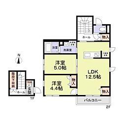 西武国分寺線 恋ヶ窪駅 徒歩10分の賃貸アパート 2階2LDKの間取り