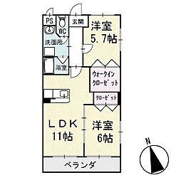 レジデンスS・S 1階[101号室]の間取り