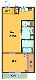 名鉄犬山線 犬山口駅 徒歩7分の賃貸アパート 1階1LDKの間取り